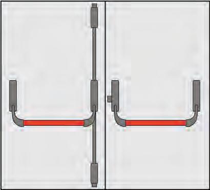 composition poign 233 e panic omec portes deux portes trois points de fermeture