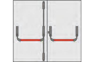 Poignée portes anti-panique Composition OMEC deux portes trois points de fermeture
