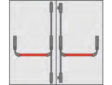 Poignée portes anti-panique Composition OMEC deux portes quatre points de clôture