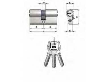 Double Cylindre Omec Laiton Nickel en forme de 6 Pins 60mm L 30/30