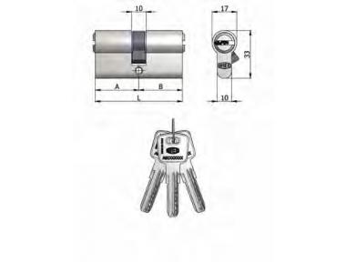 Double Cylindre Omec Laiton Nickel en forme de 6 Pins 75mm L 30/45