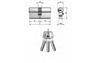 Double Cylindre Omec Laiton Nickel en forme de 6 Pins 90mm L 40/50