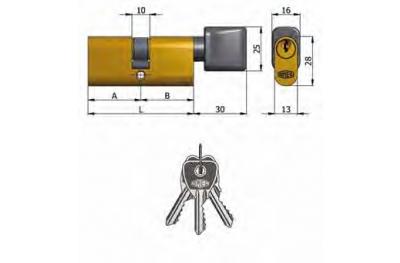 Double Cylindre Omec avec le bouton en laiton ovale 5 Pins 60mm L 30/30