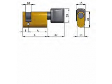 Demi-cylindre Omec avec le bouton en laiton ovale 37mm L 27/10