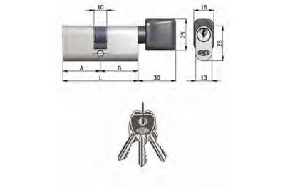 Double Cylindre Omec avec le bouton en laiton ovale nickel 5 Pins 60mm L 27/33