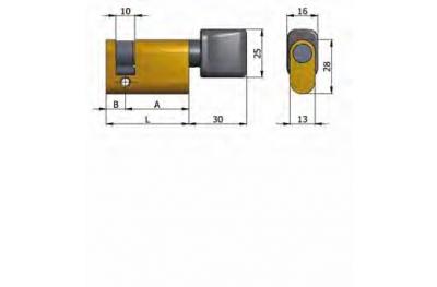 Demi-cylindre Omec avec le bouton en laiton ovale 40mm L 30/10