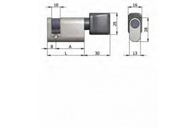 Demi-cylindre Omec avec le bouton en laiton ovale Nickel 40mm L 30/10
