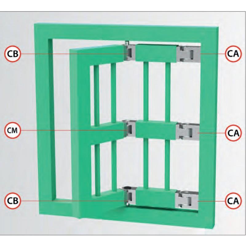 Charnière grilles de sécurité à double articulation divers types IBFM