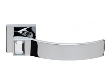 Elios Crystal Chrome Poli Poignée de Porte sur Rosette Linea Calì Crystal