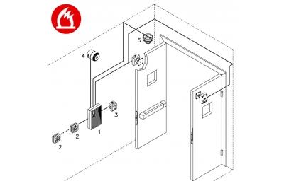 Kit Complet Centrale Incendie Monozone Portes Coupe-Feu Opera Conformité EN54