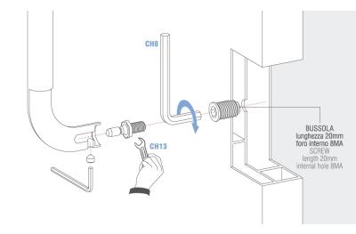 Kit de fixation simple non traversant Poignée Colombo pour portes Tous matériaux