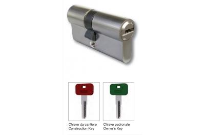 Demi-cylindre avec une clé de 40mm Chantier naval et Manor laiton chromé satiné IBFM