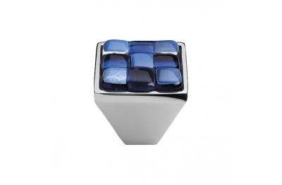 Mobile Linea Cali bouton Cristal BRERA CHESS PB CR insert 30 Verre Bleu Blanc
