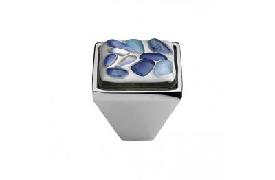 Mobile Linea Cali bouton Cristal BRERA STONE PB CR insert 27 en verre bleu bleu