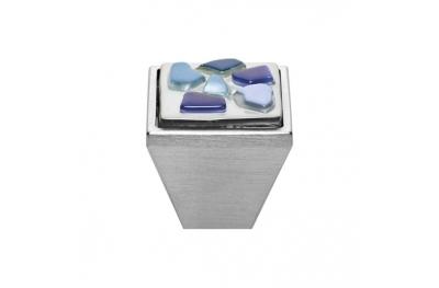 Mobile Linea Cali bouton Cristal BRERA STONE PB 27 CS insérer Bleu Blue Glass