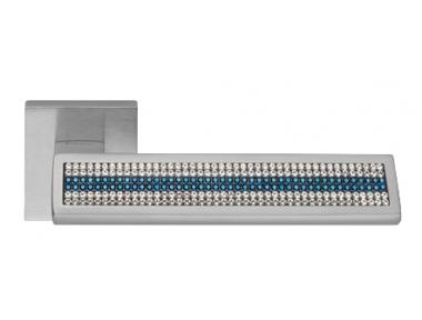 Riflesso Blue Mesh Chrome Satiné Poignée de Porte sur Rosette Linea Calì Crystal