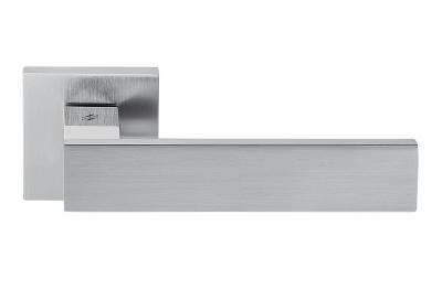 Poignée Alba en chrome poli et satiné pour porte, design Rosette Fabriqué en Italie, Colombo Design