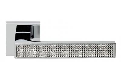 Zen Mesh Chrome Poli Poignée de Porte sur Rosette Linea Calì Crystal
